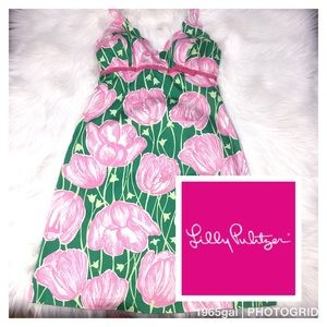 Lilly Pulitzer Towering Tulips Print Halter Dress